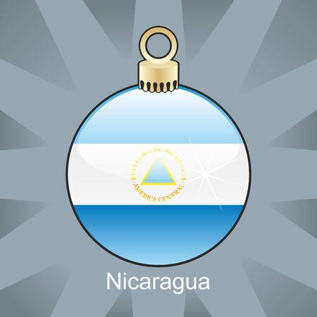 fully editable illustration of isolated nicaragua flag in christmas bulb shape Vector