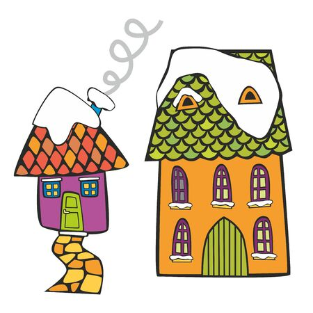 fully editable vector illustration of colored houses on winter time Stock Vector - 8447789