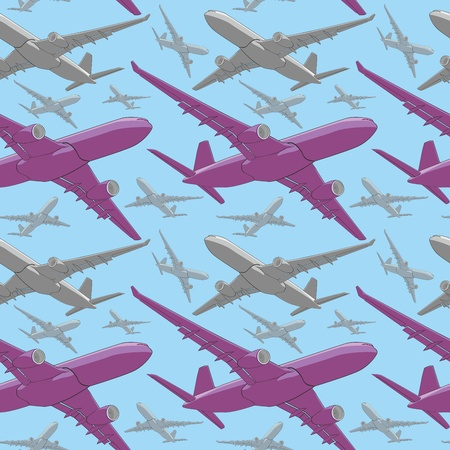 airway: fully editable vector illustration seamless pattern of colored airliners