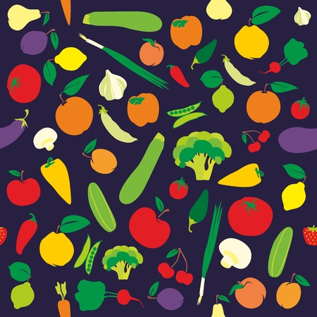 fully editable seamless pattern fruits and vegetables