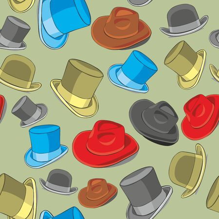 fully editable illustration seamless pattern isolated hats Vector