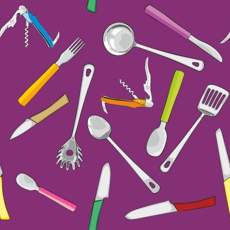 fully editable illustration seamless with kitchen tools Vector