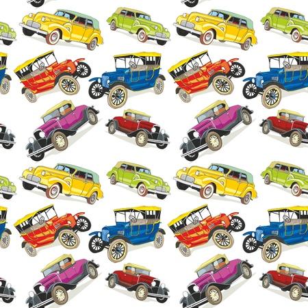 fully editable illustration seamless pattern vintage cars Illustration
