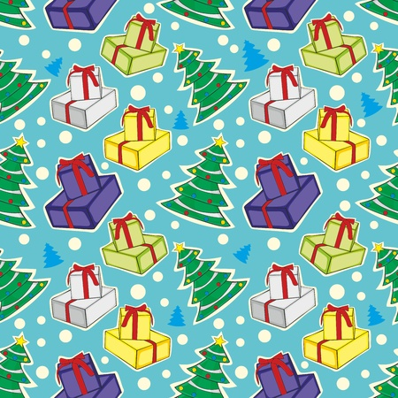 illustration seamless pattern with christmas items Vector