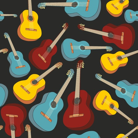 country music: fully editable illustration seamless pattern isolated guitars