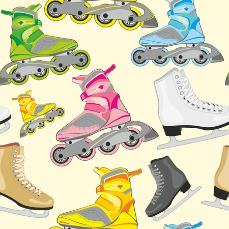 fully editable illustration seamless pattern isolated roller and ice skates Vector