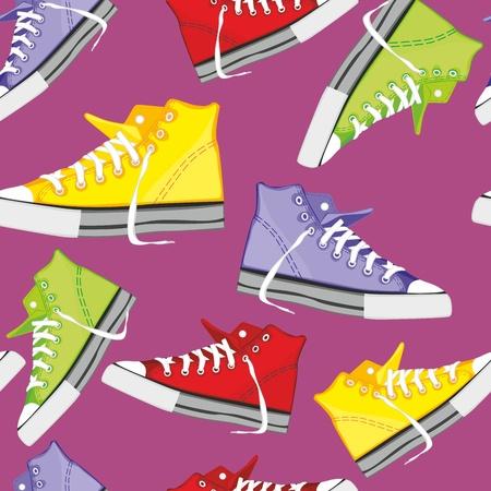 fully editable illustration seamless  pattern isolated shoes Illustration