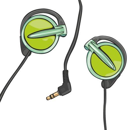 earphones: fully editable illustration of earphones isolated on white