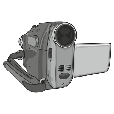 handy cam: fully editable illustration of isolated video cam on white background