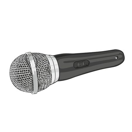 fully editable: fully editable illustration of silver microphone isolated on white