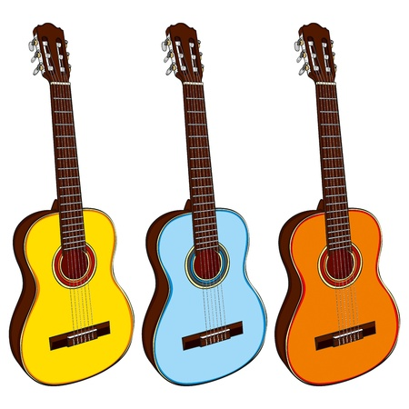 fully editable illustration classic guitars Stock Vector - 9334106