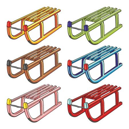 toboga: illustrazione vettoriale completamente modificabile di slitte isolate Vettoriali
