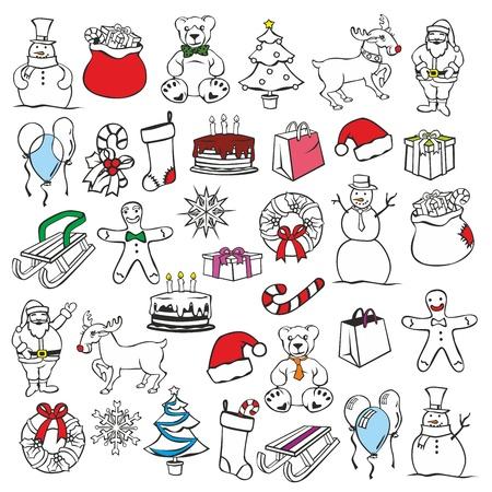 stuff: fully editable vector illustration of christmass items Illustration