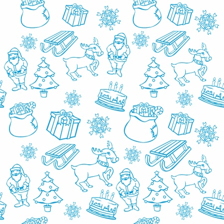 fully editable vector illustration of seamless background with christmass items Vector