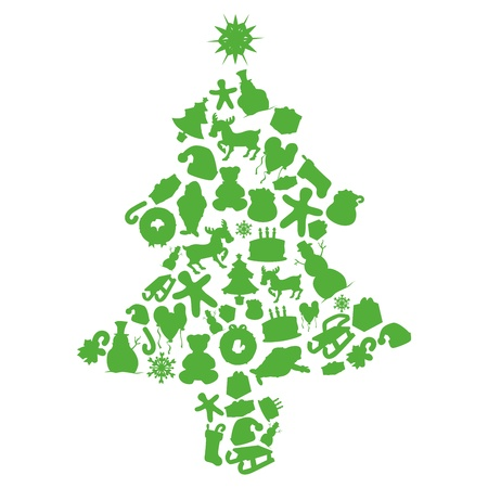 fully editable vector illustration of Christmas tree made by items silhouettes Vector