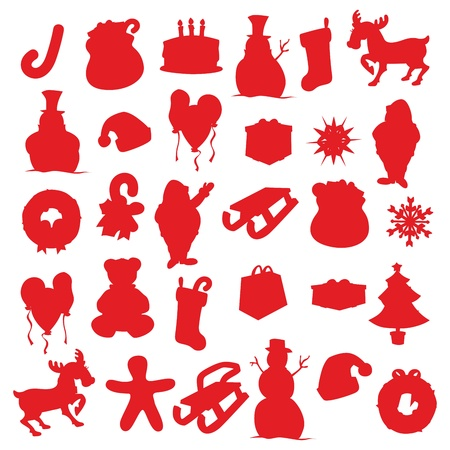 fully editable vector illustration of isolated Christmas items silhouettes Stock Vector - 11508918