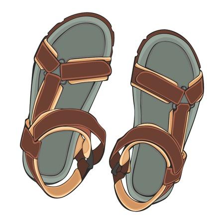 sandalias: totalmente editables ilustraci�n zapatos de verano