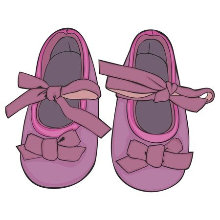 footwear: fully editable vector Illustration of a pair of baby shoes Illustration