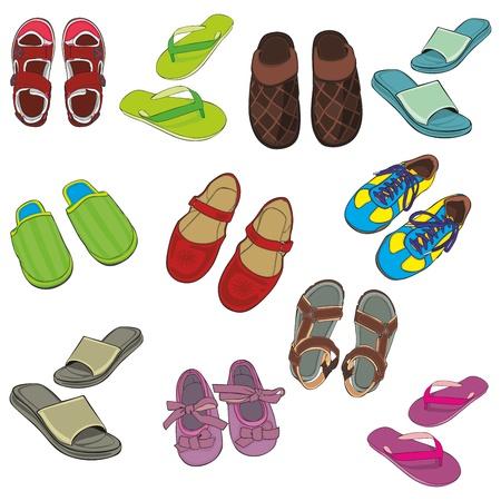 sandalias: Ilustración completamente editable del calzado aislado