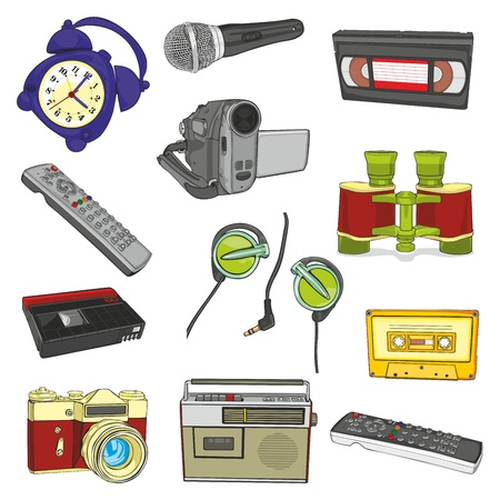 handy cam: fully editable illustration isolated entertainment items
