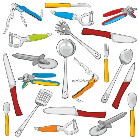 stainless steel kitchen: fully editable vector illustration kitchen items