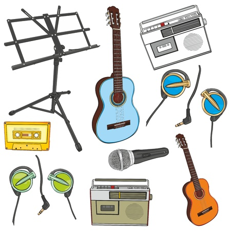 fully editable illustration music items Vector