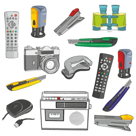 fully editable illustration office items Stock Vector - 12800557