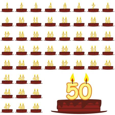 number candles: completamente editables ilustraci�n de las tortas de cumplea�os con las velas de n�meros 1 a 50 Vectores