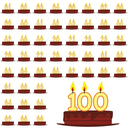 51: fully editable illustration of birthday cakes with number candles from 51 to 100 Illustration