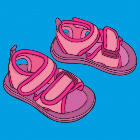 fully editable vector Illustration of a pair of girl shoes