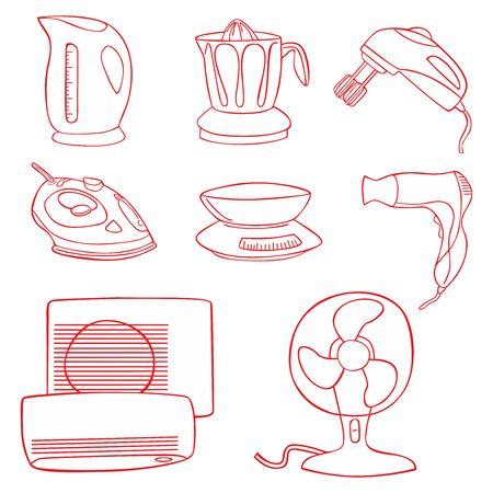 food processor: Household kitchen aplliance icons