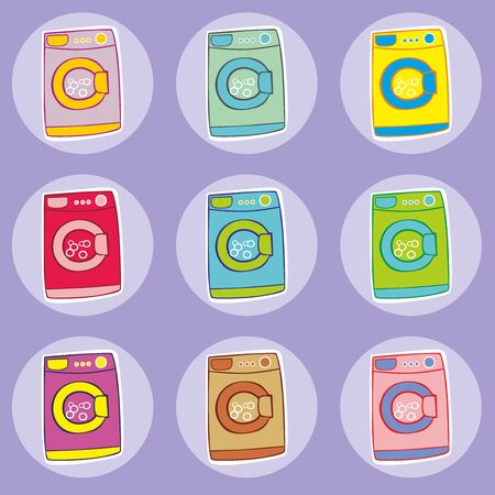 washing machines: fully editable vector illustration of washing machines