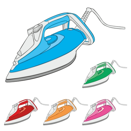 electric iron: fully editable vector illustration of steam irons