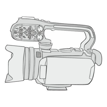fully editable vector illustration of isolated video camera Stock Illustratie