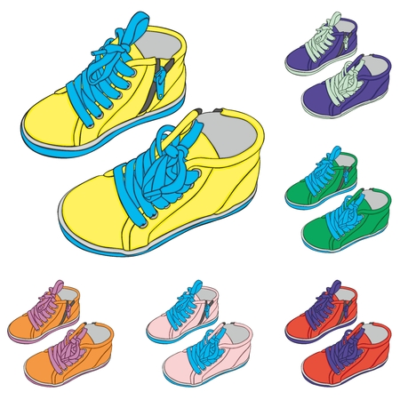 cute baby girls: fully editable vector Illustration of a pair of kid shoes Illustration