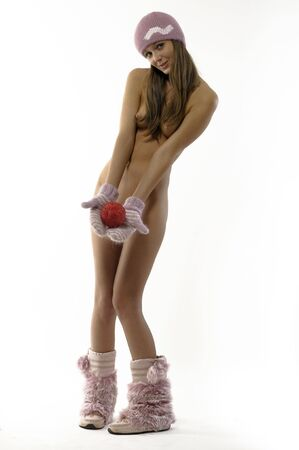 hat nude: beautiful girl with the gifts to Christmas  Stock Photo