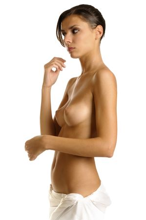 naked breast: Beatiful girl dressed in towel with naked breast
