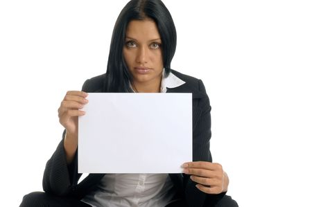 Beatiful businesswoman is holding the clean white sheet of paper. Stock Photo - 3976915