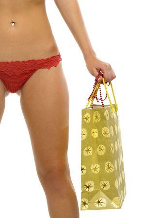 red panties: woman in red panties with gift bag