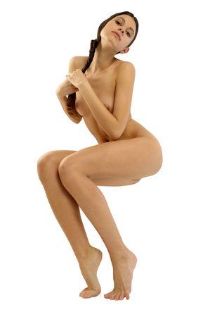 joven desnudo: Hermosa joven desnuda es trenzables trenza. Incluyendo camino.