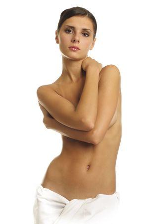 nudo di donna: Ritratto della bella donna nuda in un asciugamano