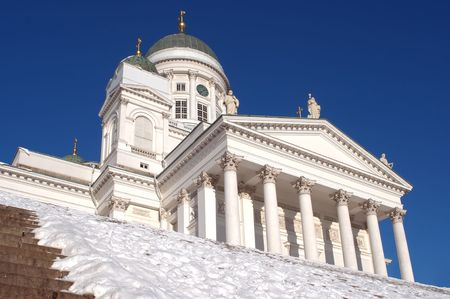 Helsinki cathedral on the main square. Sunny day. View from below photo