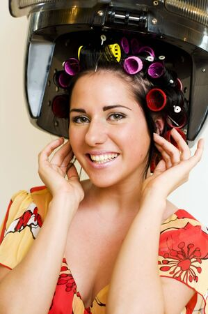 Portrait of the beautiful woman in the hairdresser Stock Photo - 4941409