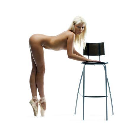 naked girl black hair: Portrait of the naked ballerina in a studio Stock Photo