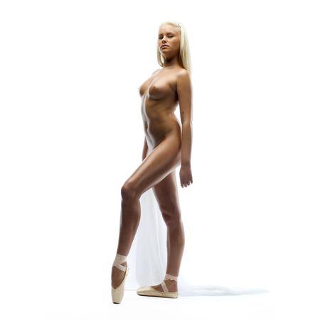 Portrait of the beautiful naked ballerina Stock Photo