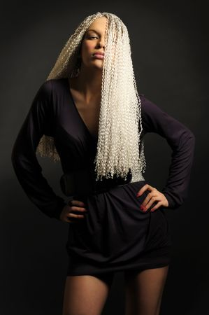 Portrait of the beautiful blonde with dreadlocks Stock Photo - 6145853