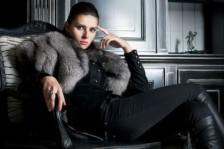 fur coat: Portrait of the beautiful woman in black  Stock Photo