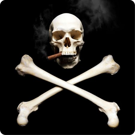 Smoking Real human skul with krossbones photo