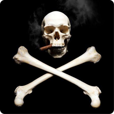 Smoking Real human skul with krossbones Stock Photo - 6366748