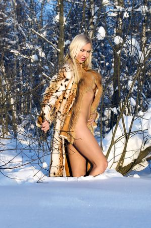 Naked beauty in furs in the winter forest  photo